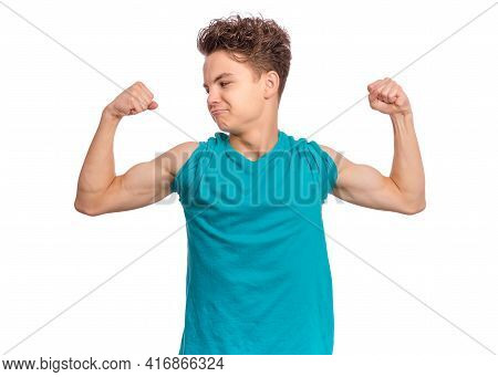 Handsome Teen Boy Raised His Hands And Shows Biceps, Isolated On White Background