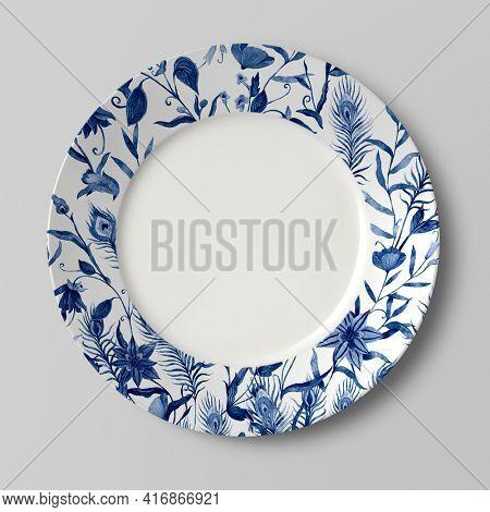Blue China floral porcelain plat tableware