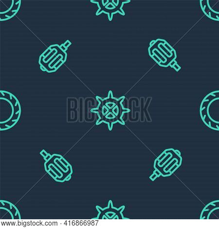 Set Line Bicycle Sprocket Crank, Pedal And Wheel Tire On Seamless Pattern. Vector
