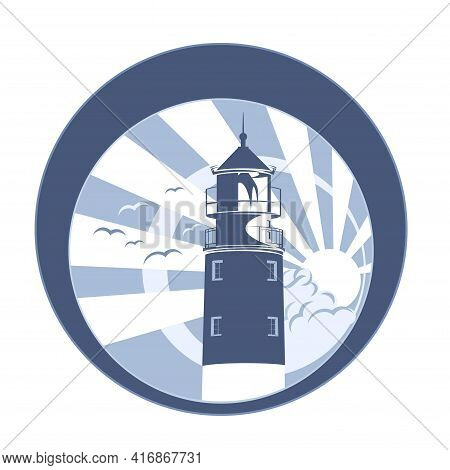 Retro Style Sea Voyage Vector Design - Lighthouse Tower And Flying Seagulls Among Sun Rays Circle La