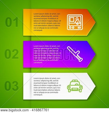 Set Line Television Report, Police Rubber Baton And Car And Flasher. Business Infographic Template.