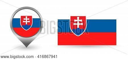 Vector Flag Slovakia. Location Point With Flag Slovakia