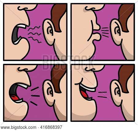 Secret. Set Of Humor Cartoons. Close To The Mouth With Different Movement In Purple Background. Vect