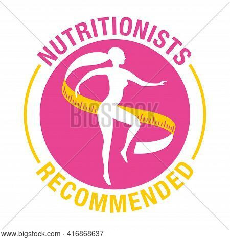 Nutritionists Recommended Icon - Weight Loss Diet Food Lisolated Button - Abstract Woman Silhouette