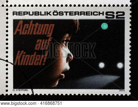 ZAGREB, CROATIA - SEPTEMBER 09, 2014: Stamp issued in Austria dedicated to road safety, attention to children, circa 1971.