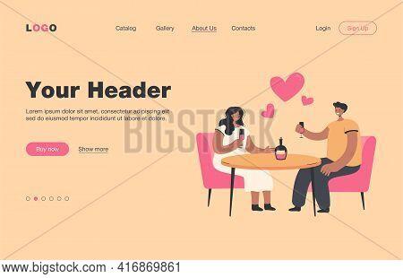 Romanic Date Vector Illustration. Happy Couple Meeting For Dinner In Restaurant, Drinking Wine, Cele