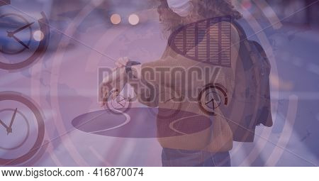 Mid-section of caucasian women looking at her watch with clock digital background. digitally generate image.