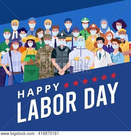 Happy Labor Day. Group Of People With Different Jobs Wearing Face Masks. Vector
