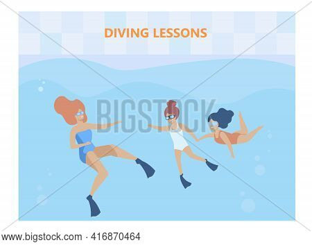 Happy Little Girls On Diving Lesson With Instructor. Water, Googles, Swimsuit Flat Illustration. Swi