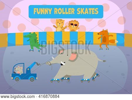 Happy Cartoon Animals Roller Skating On Rink Illustration. Mouse On Truck Pulling Elephant In Roller
