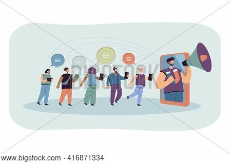 Blogger With Loudspeaker Influencing On Audience In Social Media. Flat Vector Illustration. Potentia