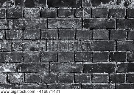 Dark Brick Wall With Soot And Grime. Real Old Building Facade Background For Decor And Design Poster