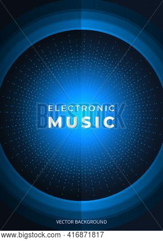 Electro Music Poster. Electronic Sound. Dark Blue Electronic Music Festival Brochure Design. Night D