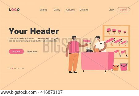 Smiling Guy Buying Paint Roller In Tool Store Flat Vector Illustration. Cartoon Salesman Servicing A