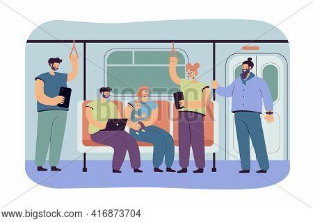 People Inside Subway Or Underground Train Flat Vector Illustration. Cartoon Passengers Using Metro O