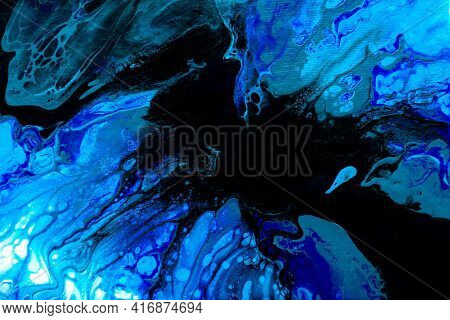 Abstract Painting Drawn By Fluid Acrylic Technique. Picture With Blue, Green, Emerald, Colorful Wate