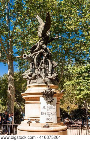 Madrid, Spain  - 14 May 2017: Monument To The Fallen On The Popular Raisings On May 2nd, 1808 (monum