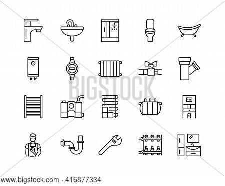 Plumbing Flat Line Icon Set. Vector Illustration Water Supply, Sewerage, Heating, Engineering Plumbi