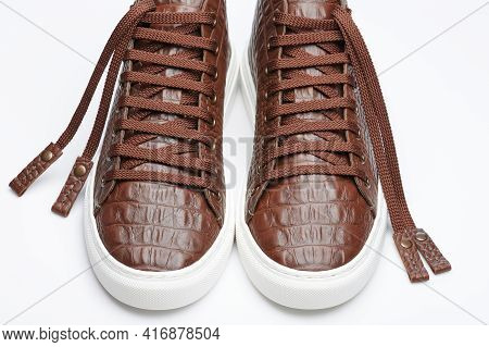 Front Perspective View Of Brown Leather Shoe