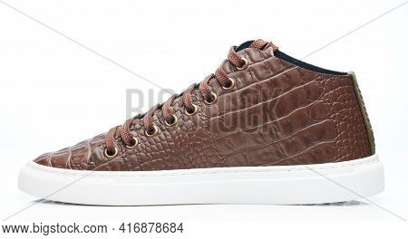 Side View Of Elegant Brown Leather Shoe