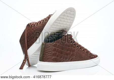Snake Leather Brown Sneaker Shoes