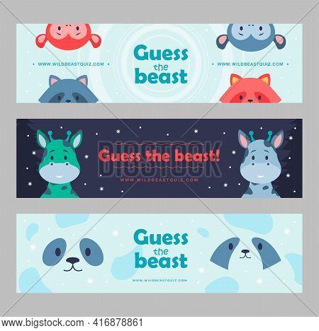 Wild Animal Banners Set Cartoon Vector Illustration. Cute Beasts For Kids Club, Wild Quiz. Panda, Mo
