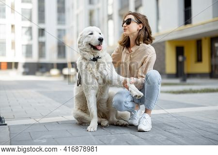 Cheerful Woman Play And Hugs With Her Big White Happy Dog On The Street. Pet Friendly And Pet Care C