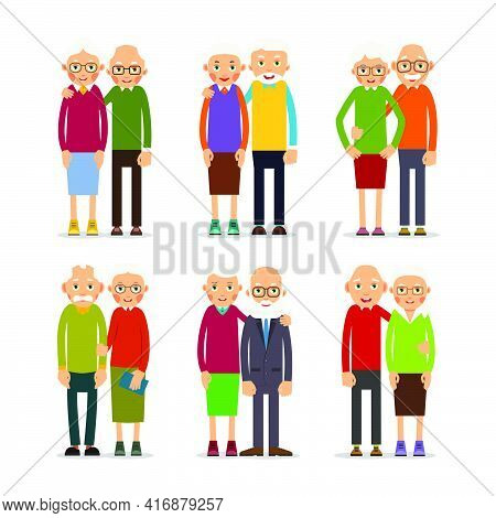 Six Couples Older People. People Stand In Pairs. Elderly Man And Woman Stand Together And Hug Each O