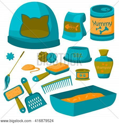 Isolated Images Of Pet Grooming Accessories With Brushes For Dogs And Cats And Canned Food, Pet Food
