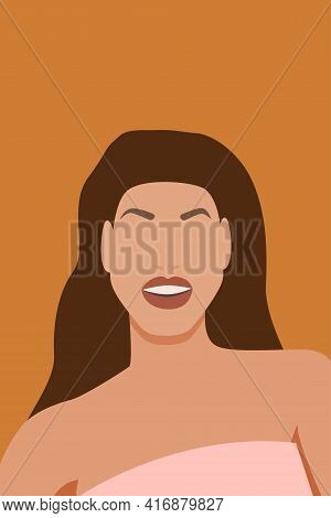 Portrait Of Smiling Young Woman With Long Hair. Minimalist Boho Style Portrait For Contemporary Post
