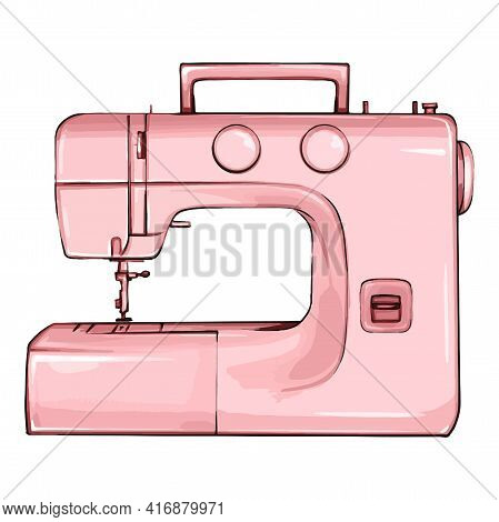 Hand Drawn Sewing Machine Retro Sketch For Your Design. Modern Illustration Of A Sewing Machine On A