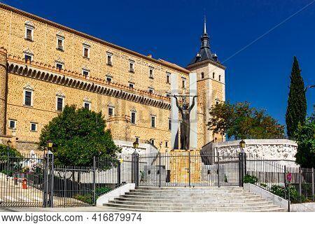View Of Alcazar Of Toledo With The Monument To The Victims Of The Civil War. Toledo, Castilla La Man
