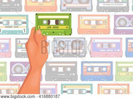 Hand Holding Cassette Cartoon Illustration. Person Choosing Tape For Listening, Seamless Tape Patter