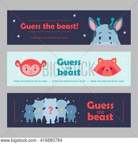 Guessing Beast Banners Set Cartoon Vector Illustration. Cute Animals For Kids Club, Wild Quiz. Panda