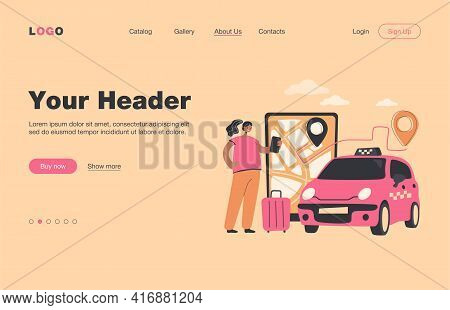 Person Ordering Cab To Airport Online. Big Screen With Route On City Map, Taxi Car, Passenger With L