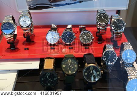 Bochum, Germany - September 17, 2020: Tissot Brand Wrist Watches On Display In A Store In Bochum, Ge