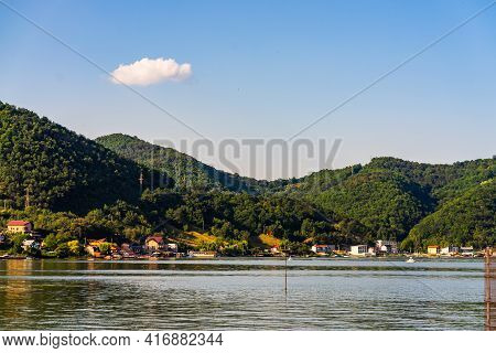 Beautiful View At Danube Gorge (iron Gates), Danube River Landscape On Sunny Day