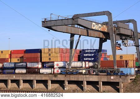 Duisburg, Germany - September 18, 2020: Shipping Containers In Port Of Duisburg, Germany. Port Of Du