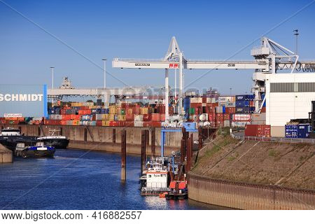 Duisburg, Germany - September 18, 2020: River Traffic In Port Of Duisburg, Germany. Port Of Duisburg