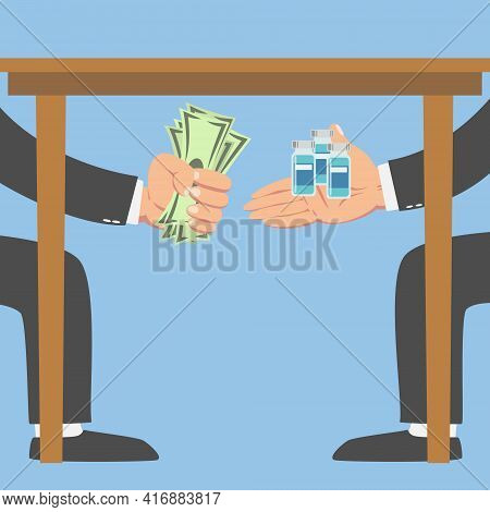 Businessman Giving Money Under A Table To Another Businessman For Vaccine Isolated On Blue Backgroun