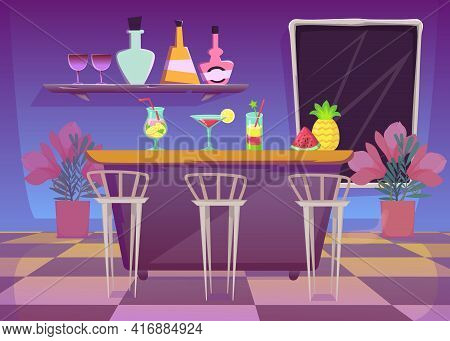 Bar Counter In Nightclub Or Cafe Flat Vector Illustration. Bar Interior, Pineapple, Watermelon And C