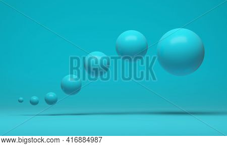 A Group Of Floating Turquoise Spheres Arranged In A Curved Line On A Turquoise Background. 3d Render