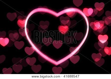 glowing heart shape with bokeh lights poster