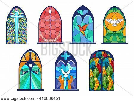 Cartoon Set Of Old Stained Glass Windows Vector Illustration. Fantasy Glass Painting, Gothic Archite