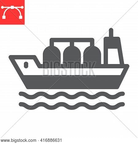 Oil Tanker Ship Glyph Icon, Fuel Shipping And Logistics, Cargo Ship Vector Icon, Vector Graphics, Ed
