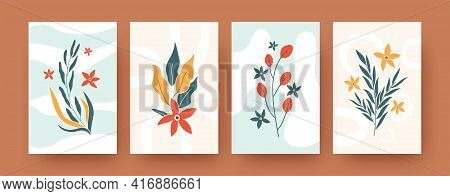 Set Of Abstract Romantic Floral Elements In Pastel Colors. Contemporary Artistic Botany Vector Illus