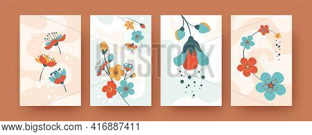 Beautiful Spring Flowers Collection Of Contemporary Art Posters. Creative Pastel Botany Decow In Vec