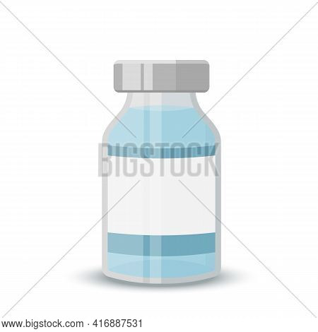 Vial Icon, Flat Style. Medical Ampoule .transparent Glass Medical Vial With Aluminum Cap. Vector Ill