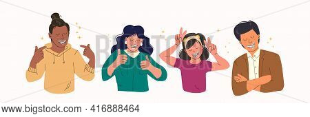 Happy People With Teeth Braces. Group Of Different Gender And Age People Demonstrates Dental Braces