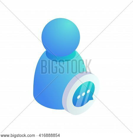 User Messaging Isometric Concept. Vector 3d New Chat Message Bubble Notification Sign, Person Chatti
